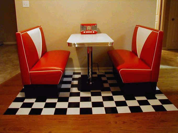 Annettes diner booth retro kitchen red and white custom table - Kitchen table booths ...
