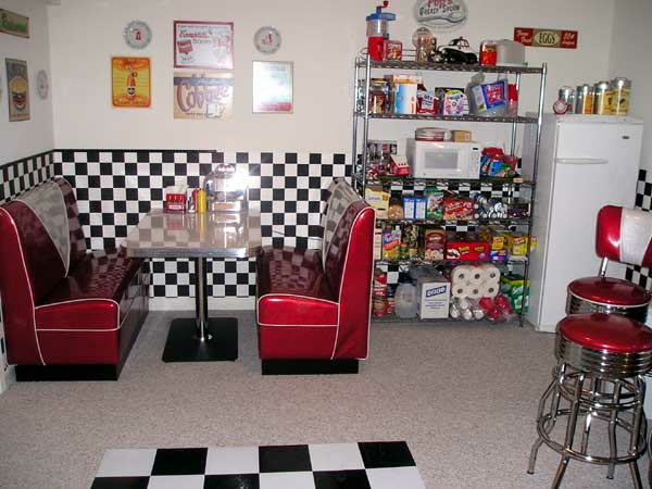 Barnes retro basement diner bars booths for Retro basement ideas