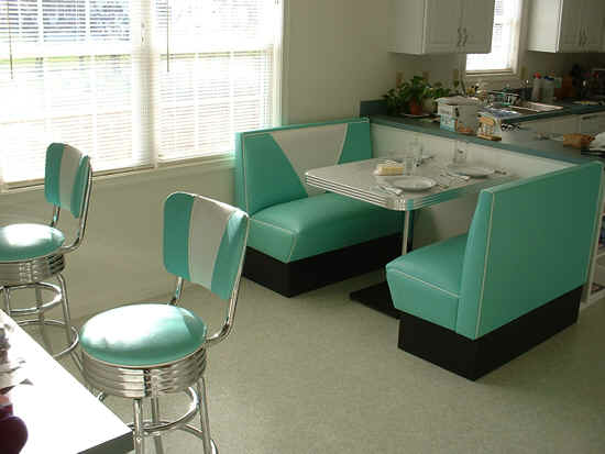 Kitchen Booth: Teal, White, Boomerang Table, Bar Stools