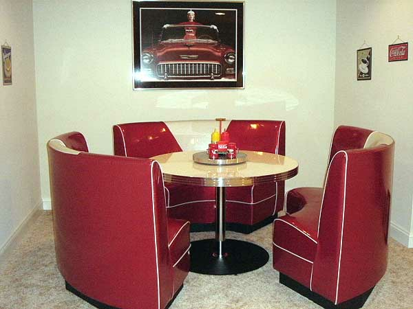 Circle booth modern retro red and silver home game room table - Kitchen booths for sale ...