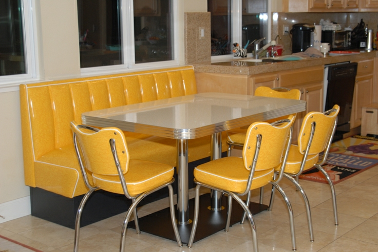 Retro kitchen booth yellow cracked ice chairs table home seating - Kitchen table booths ...