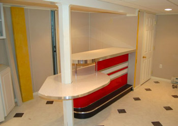 Custom Home Bar Basement Retro Boomerang Game Room