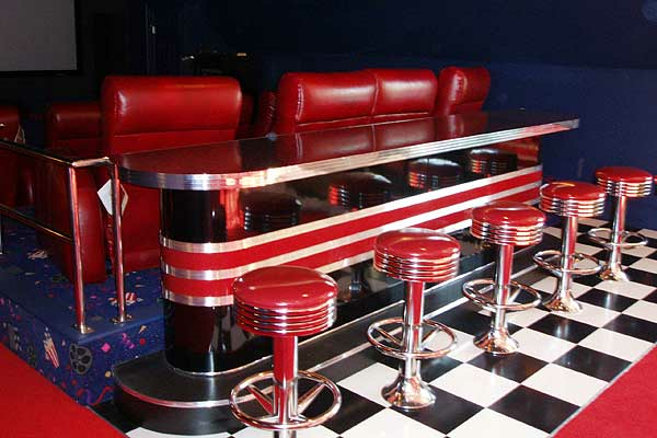 Retro Theater Home Bar Chrome Floor Mounted Bar Stools Vintage Base