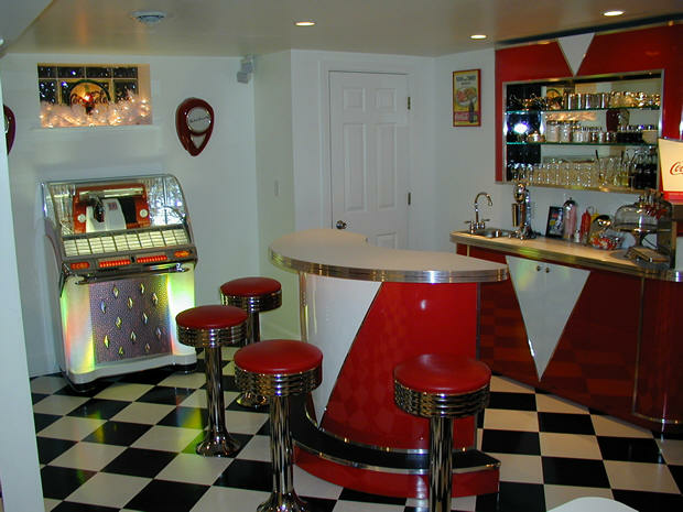 Retro room custom bar credenza back bar jukebox for 50s diner style kitchen