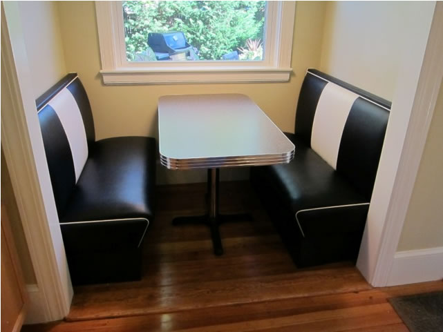 Retro diner booth in kitchen nook