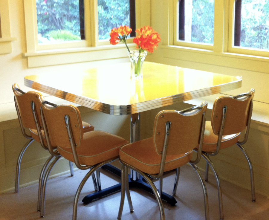Retro Dinette Set in Yellow Cracked Ice