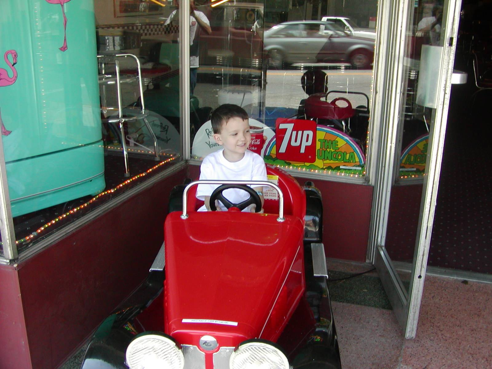 Red Car Kiddie Ride Coin Operated Kid Ride On Old Time Car