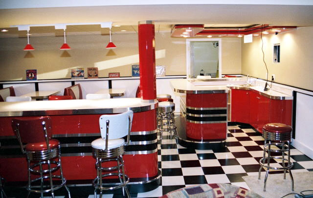 Kieths retro room basement home diner bar diner for 50 s style kitchen designs