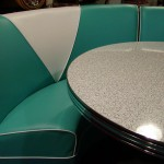 Kemp Corner Booth in Teal & White