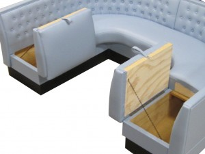 Serenade Series - Vegas Half Circle Diner Booth with Hinged Storage