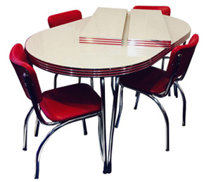 Family Dining Leaf Table  sc 1 st  Bars \u0026 Booths : vintage kitchen table and chairs set - pezcame.com