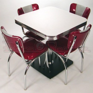 Retro cafe seating restaurant home chrome diner table - Table cuisine retro ...