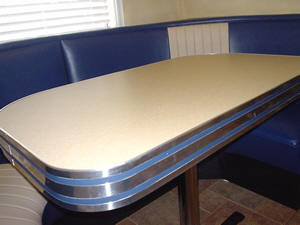 Metal Banding Table Counter Top Retro Diner Chrome