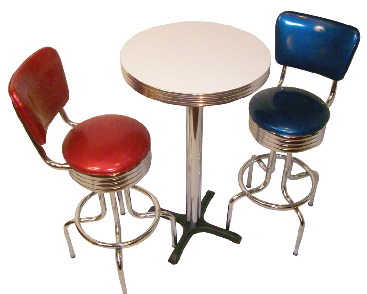 Pub Table Sets Retro Bar Kitchen Restaurant Diner USA : Pub Table Set Red Blue Stools from barsandbooths.com size 750 x 600 jpeg 91kB