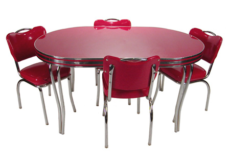 Dinette Set Red Cracked Ice