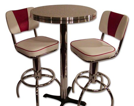 Pub Table Sets u2013 White and Red  sc 1 st  Bars u0026 Booths & Pub Table Sets: Retro Bar Kitchen Restaurant Diner USA