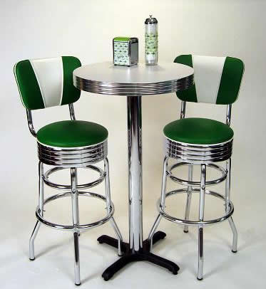 This retro pub set in green is pretty stunning we think We love the refreshing colors This set features a pub table with backed Green Bar Stools accented