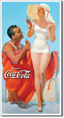 Coke Man Amp Woman Beach Tin Sign 187 Bars Amp Booths