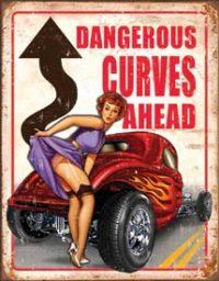 1670 Curves Ahead Metal Sign