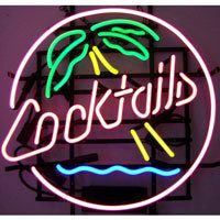 Cocktails and Palm Trees Neon Sign