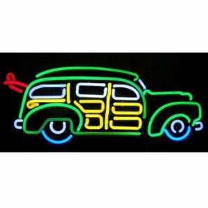 Surfing Woody Wagon Neon Sign