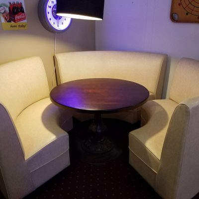 Kemp Circle Booth - Rouge II Off White - Wood Table